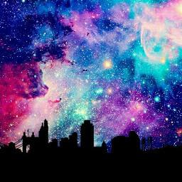 galaxy backlight silhouette city buildings freetoedit