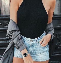 freetoedit denim shorts cute outfit