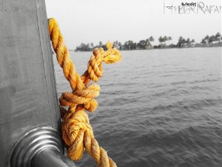 colorsplash blackandwhite yellow rope boat