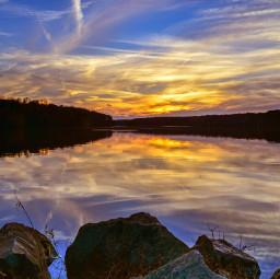landscape lake water sunset color