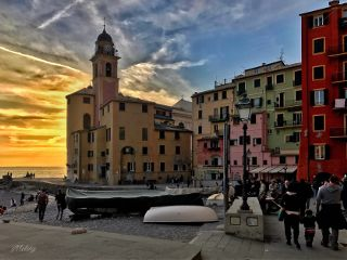 italy camogli sunset winter travel