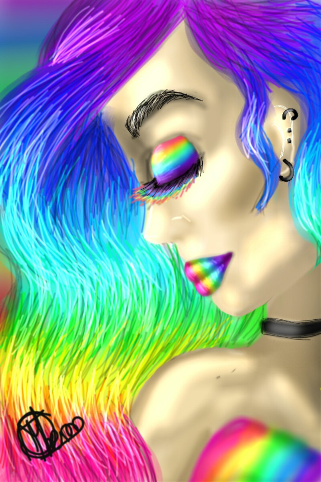 #rainbow #rainbowhair #rainbowlips #rainbowmakeup #woman #womanportrait #portrait #drawing #mydrawing #digitaldrawing #black #colorful #girl
