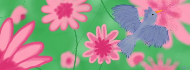 bird blue drawnwithpicsart pink flowers